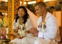 Monks blessing wedding