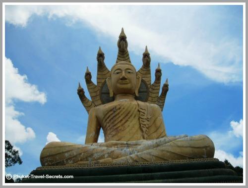 Close up of the seated Buddha in Phang Nga.