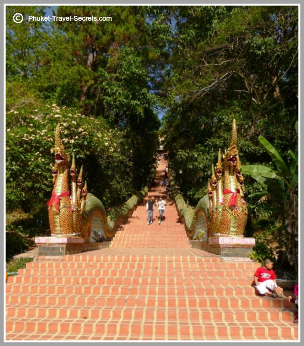 The impressive Naga Serpent staircase leading to the temple at Doi Suthep.