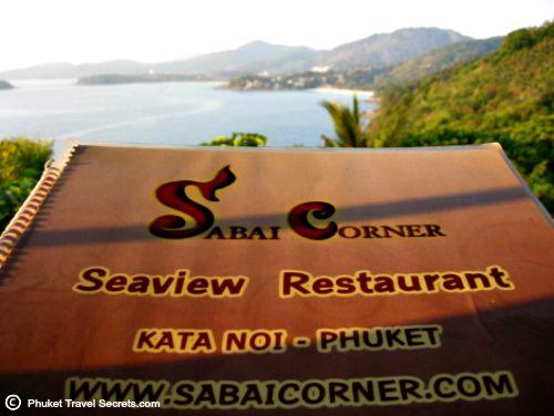 Extensive menu and great views at Sabai Corner at Kata Noi.