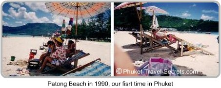 Beach chairs at Patong Beach in 1990, this was when Patong was the perfect holiday destination in Phuket.