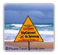 Warning signs on Phuket Beaches of Rip Tides and currents