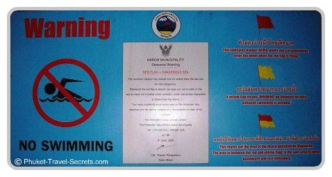 Phuket Beach Warning signs