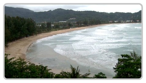 Looking south along Kamala Beach.