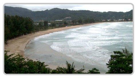 Looking south along Kamala Beach.