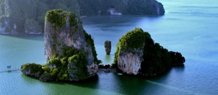 Helicopter rides over James Bond Island.