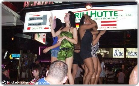 Ladyboys enjoying the nightly activities in Bangla Road, Phuket