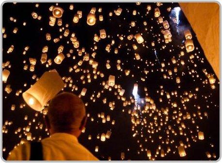 Sky Lanterns in Flight