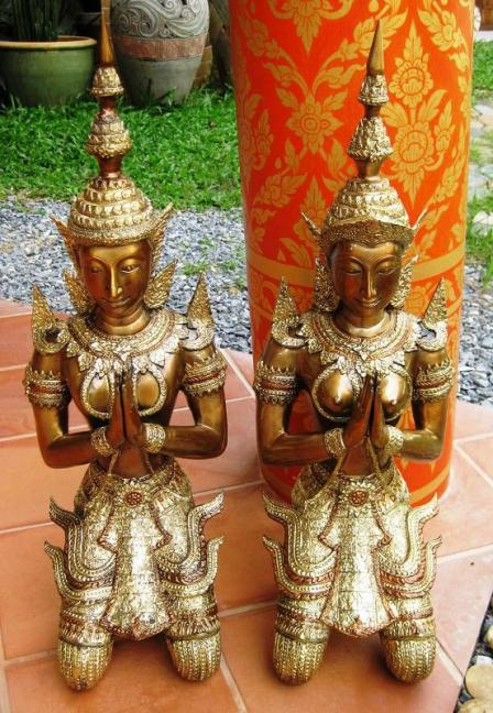 Polished Brass Kneeling Teppanom, Thailand souvenirs, Thai
