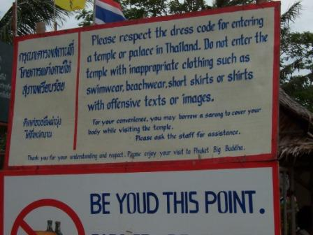 Dress code sign for temples in Phuket and other areas of Thailand.