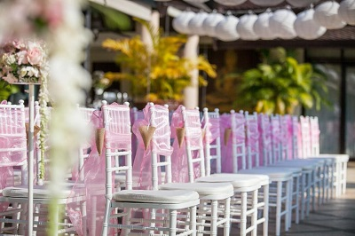 Tiffany chairs for a beach wedding in Phuket