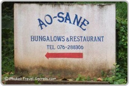 Ao Sane beach sign and bungalows phone number.