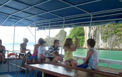 On board boat in Phang Nga Bay