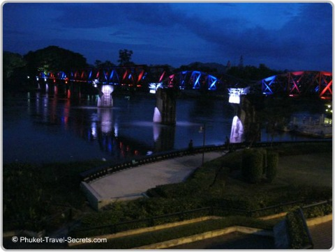Views of the Bridge on the River Kwai at Night