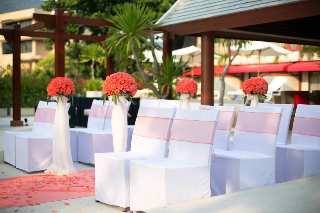 Elegant chair covers for a villa wedding in Phuket