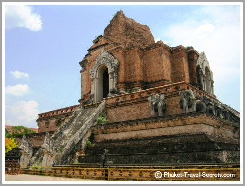 Naga Serpent staircase and remaining elephant statues on Wat Chedi Luang.