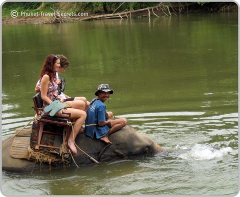 Elephant Trekking in the River Kwai, Kanchanaburi, Thailand.