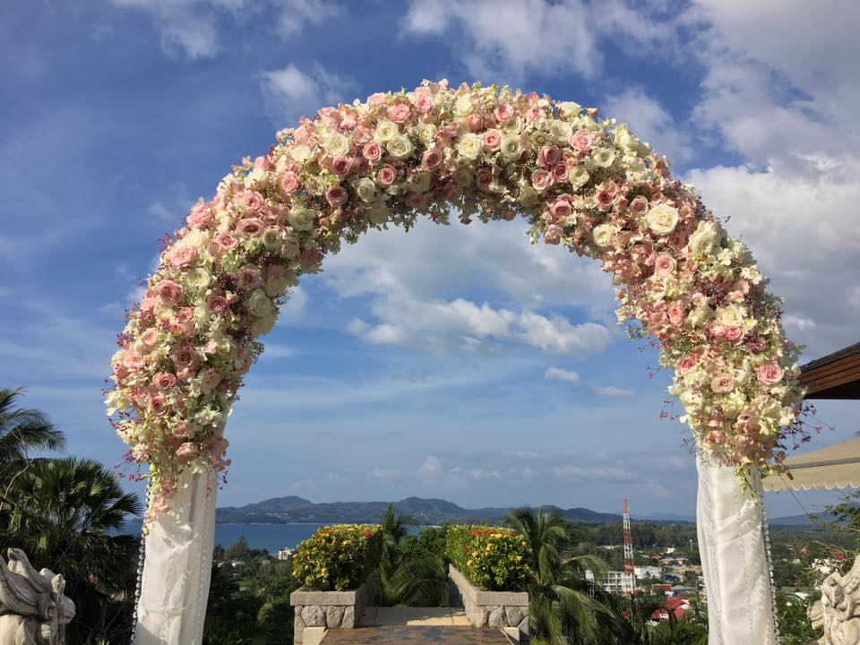 Floral arch designed for a villa wedding in Phuket