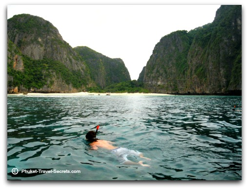 snorkelling in Maya Bay at Phi Phi Ley.