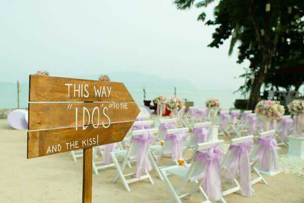 Signs are a simple idea for a beach wedding in Phuket
