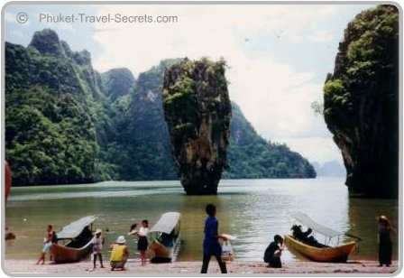 Picture of Koh Tapu known as James Bond Island on our first trip in 1991.