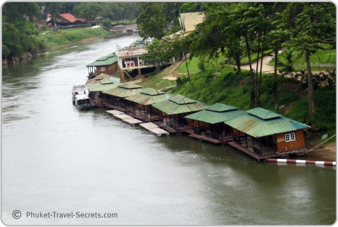 River Raft Hotels on the river Kwai in Kanchanaburi Thailand