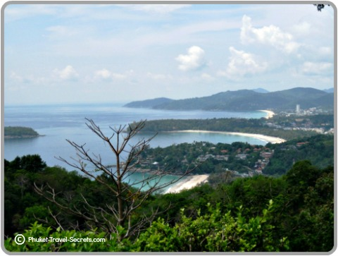 Views of the three beaches of Kata Noi, Kata and Karon Beach in the distance.