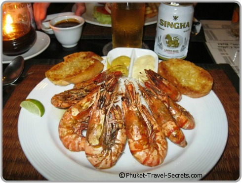 Grilled Tiger Prawns available at Kata Vill