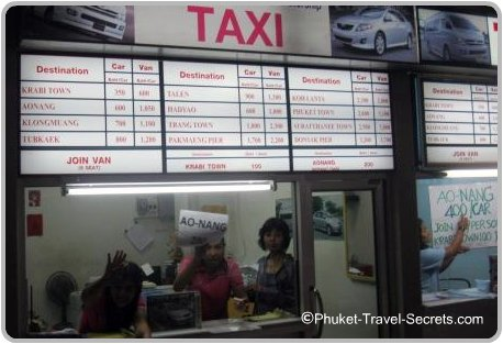 Low season taxi prices from Krabi Airport.