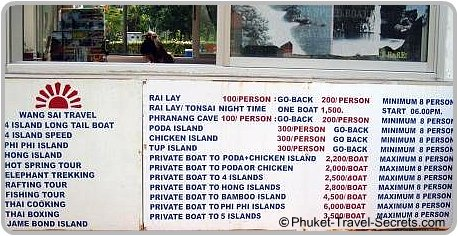 Low season Longtail boat prices from Ao Nang beach.