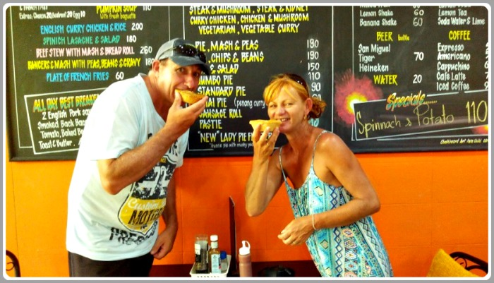 Devouring our Aussie Meat Pies at Lady Pie Cafe