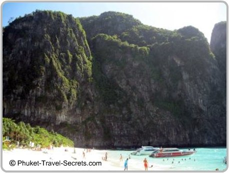 Speed boats at Maya Bay