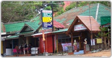 Shops behind the beach at Nai Harn.