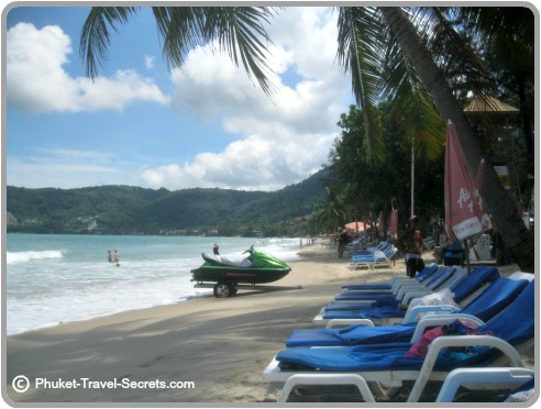 Northern end of Patong beach before the crowds arrive and to many jet skis..