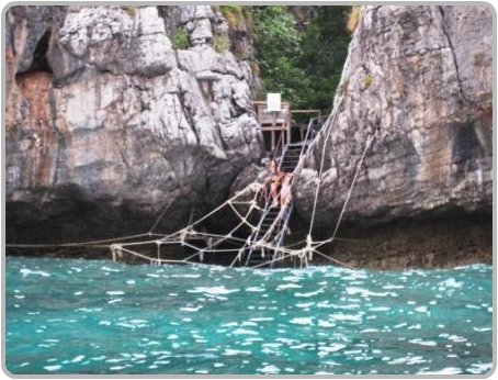 Ropes and ladders in Loh Samah Bay, Phi Phi Ley.