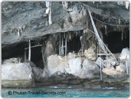 Inside the Viking Cave are bamboo ladders