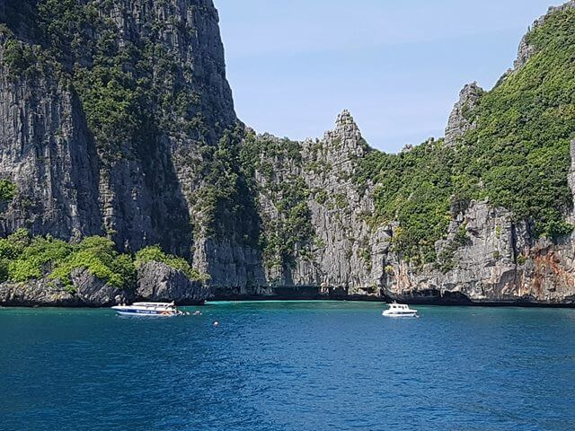 Cruising around the sights of Phi Phi Ley on-board during our Boat Tour