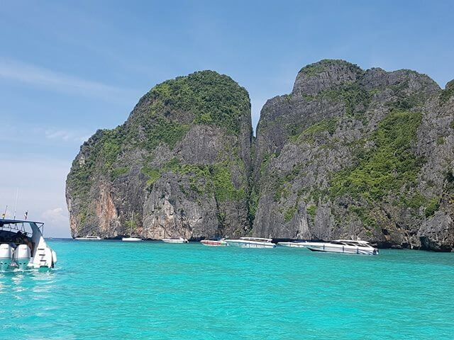 Speed boats in Maya Bay