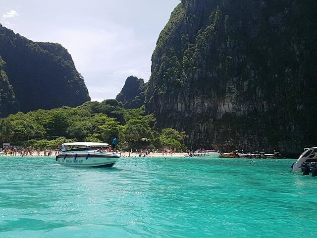 People enjoying the beach at Maya Bay