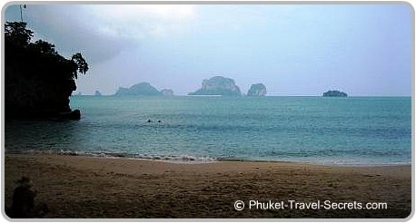 Views of Poda, Chicken and Tub Islands from Phra Nang Beach.