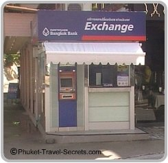 Currency Exchange Booth & ATM at Karon Beach Phuket.