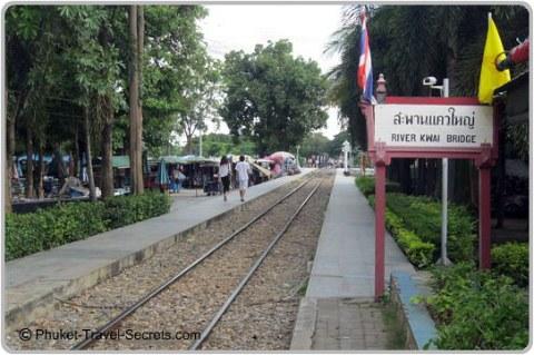 Markets alongside the River Kwai Rail Tracks