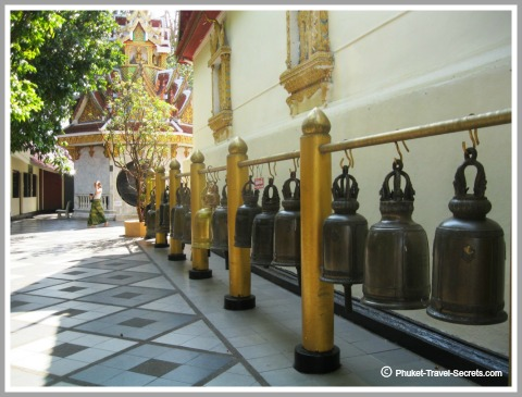 Bells surrounding the lower level at Wat Phrathat