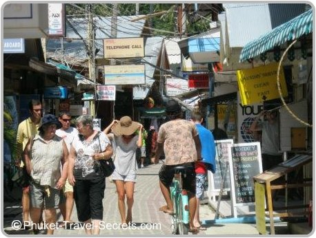 Streets in Tonsai Village on the Island of Phi Phi Don.
