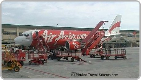Arriving at Phuket International Airport with low cost carrier Air Asia.