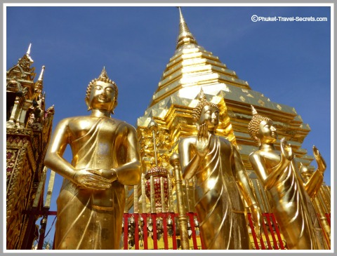 Golden Statues and Shrines are located around the Golden Chedi at Doi Sutep.