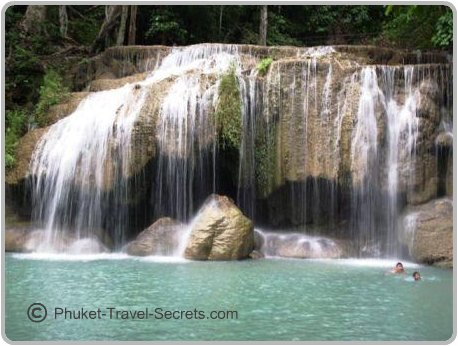 Swimming holes at Erawan Waterfalls.