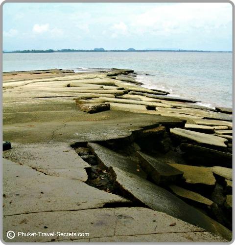 Shoreline showing rock formations at Shell Beach, Krabi