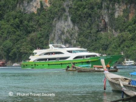Ferry from Phuket arriving at Phi Phi.