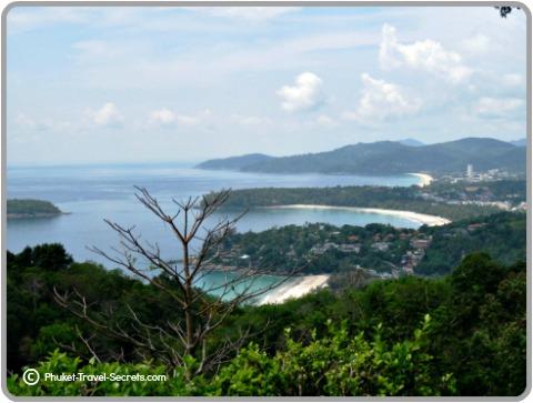 Views of the three beaches of Kata Noi, Kata and Karon Beach in the distance.